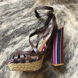naughty monkey Shoes - Woven Retro 70's Platform Heel.